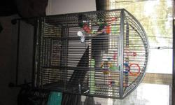 Anyone thinking of buying a parrot this is a great deal for you I paid 1000 for this cage and need to get rid of it no longer in use in my home....Im asking for 600obo This is in really good condition on wheels and has two metal bowls that comes with the