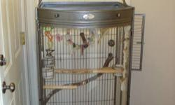 I have dropped the price to $500 FIRM! We are moving in a week and would really like to find a great home for our birds. Price includes large easy to clean bow front cage and toys. Birds are hand trained. Sun Conure is banded and we have the birth