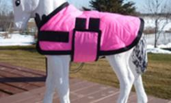 Miniature Horse Foal Blankets  Be ready for your new foals with a nice warm blanket I make Miniature Horse Blanket/Jackets on my spare time. These are new and this one is shown on a small concrete horse. (concrete horse not for sale) Some are polar fleece