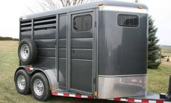 NEW 2012 2 Horse Slant StockCombo Bumper Pull Horse Trailer    Ranch King by Calico Horse Trailers   Trailer Specs 13? Long 7? Tall 6? Wide Weight: 2580 lbs 16? Ten ply tires   Description Dark Grey Swing Wall Dressing Room (Wall can be removed to open up