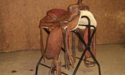 Original Eamore saddle for sale, a 72, handmade by the father of the family.  Has been stored inside and completely refleeced.  A great old saddle to ride in or perfect for western collecters.  $1000