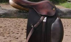 """Sadly outgrown! Lovely quality 15 3/4"""" Pessoa pony saddle. This is an older English made Pessoa with soft calfskin knee pads and seat, not the cheaper new slippery printed leather Argentinian Pessoas. Beautifully broken in, soft and grippy. The best"""