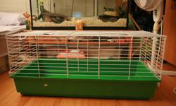 This cage is BRAND NEW. I purchased it for a pet rat, but the bars are spaced too far apart. Unfortunately it was final sale at the store I bought it from so I'm currently stuck with a big cage taking up space. This is lucky for you because you can get a