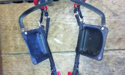 Used less than ten starts for racing. Black and red quick hitch harness looks brand new. Comes with red lines and black and red buxton And black and red blind happy bridle with snaffle bit $200 Obo This ad was posted with the Kijiji Classifieds app.