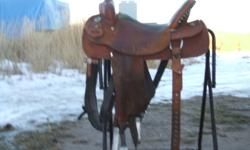 I am selling my absolute favorite saddle due to medical reasons. You cannot order a brand new Black Rino saddle anymore. It is a handmade saddle by 1 man with high quaility leather. It fits the more throughbred type horse, a horse with a narrow shoulder.