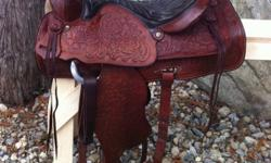 "~Christmas Specail~ $1,000 free shipping. Vintage 15"" Red Ranger saddle. Fully tooled, all leather. About 40 yrs old, in excellent condition with no marks or scratches. Very well looked after. Has 7"" gullet. Well made saddle, made to last. Has #918 on"