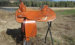 """Handcrafted w upgraded tooling and silver. 16"""" seat. This saddle is my dream saddle but unfortunately, does not fit my tiny, little reiner. My loss is your gain. $3200 obo. Only rode in once!  Cadillac Ride!"""