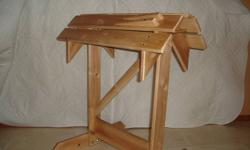 Spruce Saddle Stands, Simulated Withers raise the saddle front, tack holding pegs on the ends, light stain with varathane finish, very solid. The stand was designed with input from the largest western store south of Calgary. Oak Boot Jacks also available