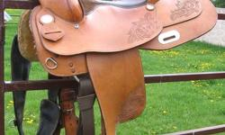 16 inch Silver Supreme Reining western saddle for sale. Has full QH bars, good stirrups and is in nice shape with lots of life left in it! I am not using this saddle so would love for someone to be able to enjoy it! Feel free to contact with any