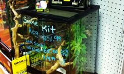 Jungle pets has a beautiful snake kit available for sale. It measures 12 by 12 by 18. It can be yours for as low as 166. That's 25% off the original price of $207 when you buy a snake. Snakes currently available are corn snakes, ball pythons, red tail