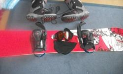 L.T.D SNOW with K2 BINDINGS AND BOOTS and a pair of snow boarding glasses. I paid over 900 last year but now no longer have time to snowboard so I am letting it go I am willing to trade for reptiles or will take best offer.