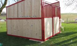 Complete 10x10 shelter kit Galvanized steel roof 2x6 pre-cut wood siding(just slides into channels) Heavy duty steel frame -powder coated Bright red   PLUS   Complete stall front with sliding door on aluminum trollies pre-cut wood   Special package -ready
