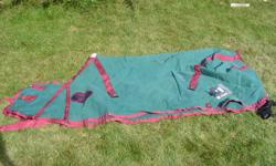 """Horse has been sold and I no longer need this tack.  If item has no price it has already been sold.  Phone calls are better than e-mails, thanks Mairi. 623-1133 78"""" Weather Betta sheet                                      $50.00 Blue or Green haynet"""