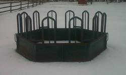 Used Tombstone Round Bale Feeder For Sale. 12 Feeder - With Quick Release Pins To Take Apart. Measurements Are 8 Feet Round By 4 Feet High. Holds One Full Size Round Bale.   Less Feed Waste Than Traditional Feeders. Safe For Horses & Cattle. Horse?s