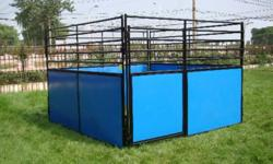 We have one 10x10 barely used portable HEAVY DUTY show stall for sale, completely free standing - front plus 3 sides. All sides have upper grills, front has upper grill and swingout door. Lower 4' of each panel filled with heavy duty double sided vinyl