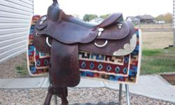 """Gorgeous Vic Bennett reining saddle, 16"""" seat, perfect for showing or looking good out on the trails!  Email or call 780.842.5573 $3200"""