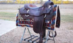 "Gorgeous Vic Bennett reining saddle, 16"" seat, perfect for showing or looking good out on the trails!  Email or call 780.842.5573 $2900"