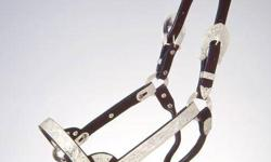 Western Silver Show Halter Black Leather Silver Bar Style + Matching Lead Retail Price in Tack Stores: $225 Buy it here now for $65 Western Silver Show Halter Black Leather with Silver plus Matching Lead Here are the details: NEW Western Show Halter Black