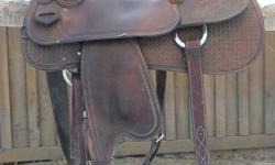 """Willow Creek Saddle - Shauna Sapergia Edition Custom Made by Rusty Wallace (Nanton, AB) 15"""" Reiner QH Bars 13"""" Swells & 4 1/2"""" Cantle Basket Stamped Aluminum Stirrup Well Built Fits horses well Could be used for pleasure, trail, reining, or cowhorse"""